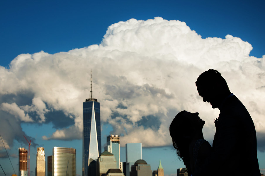 Bride and Groom and NYC Skyline