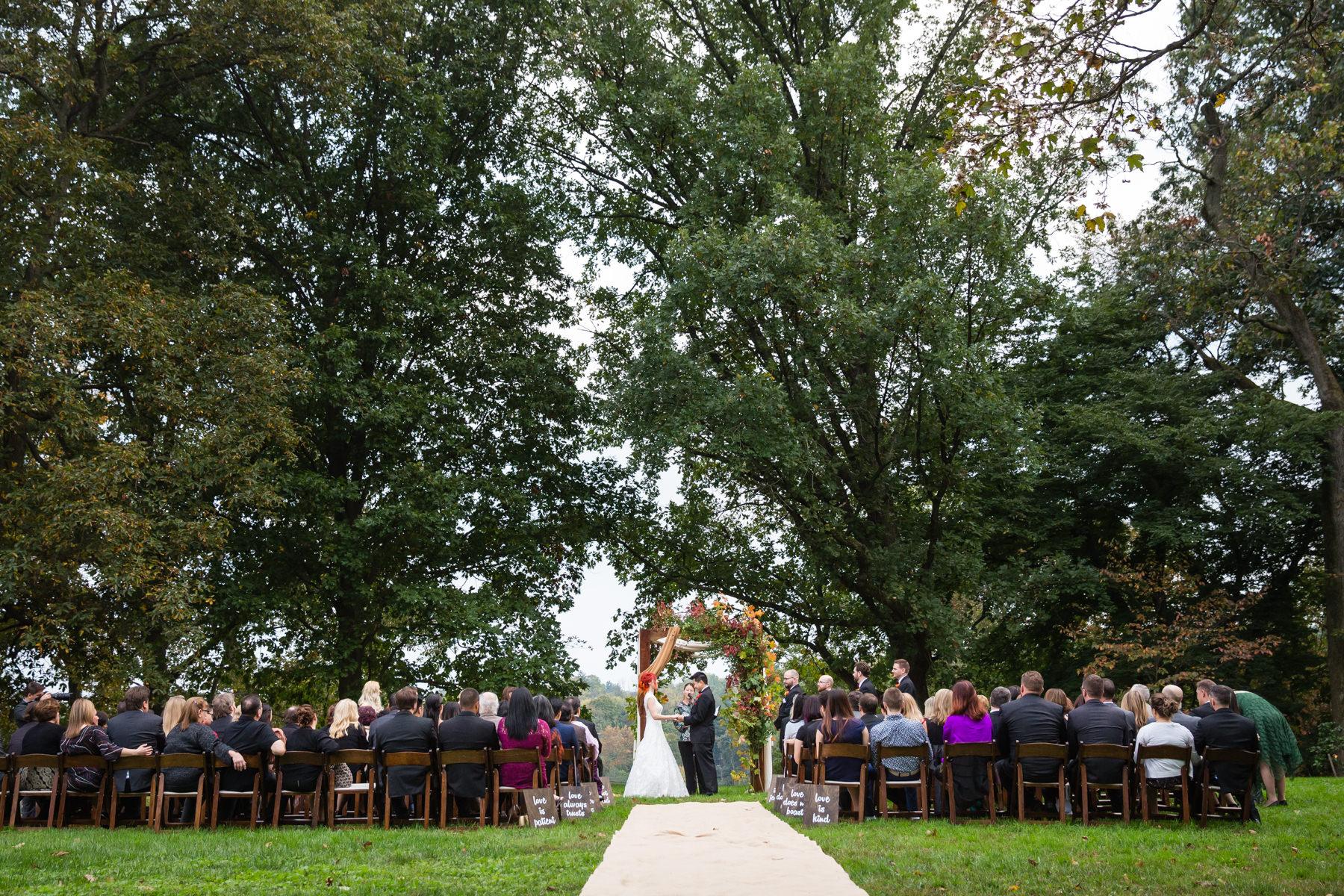 Outdoor Lawn Wedding Ceremony At The Morris Arboretum In Philadelphia Pa
